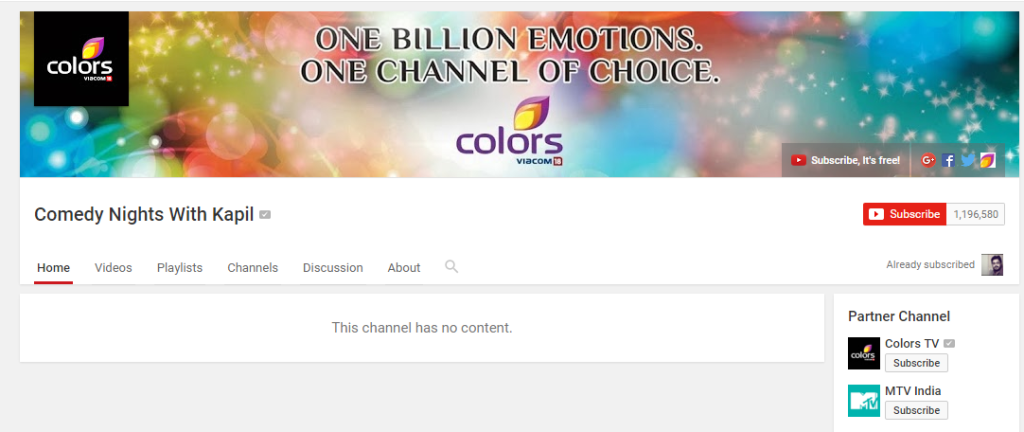 comedy nights deleted from youtube