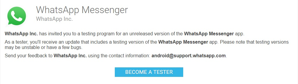 become a tester for WhatsApp