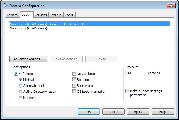Safe Mode of Windows 7 and Windows 8