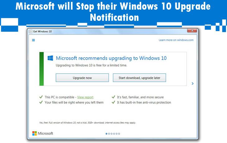 Microsoft will Stop their Windows 10 Upgrade Notification