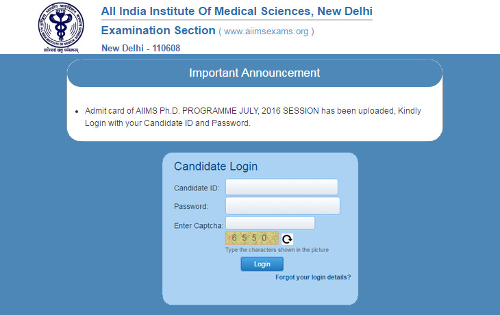 AIIMS PhD Admit Card 2016