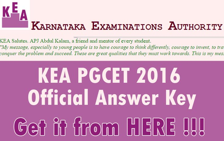 KEA PGCET 2016 Official Answer Key