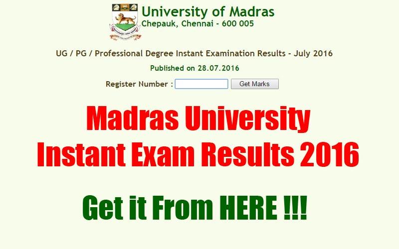 Madras University Instant Exam Results 2016