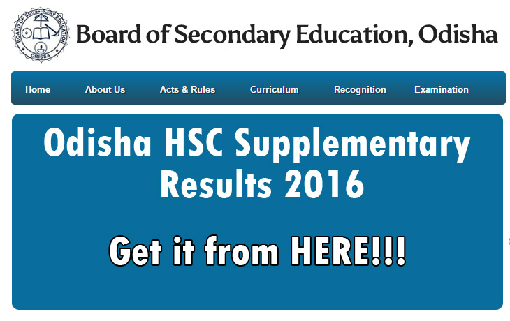 Odisha HSC Supplementary Results 2016