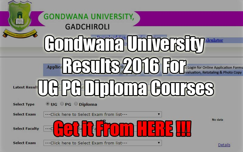 Gondwana University Results 2016 For UG PG Diploma Courses