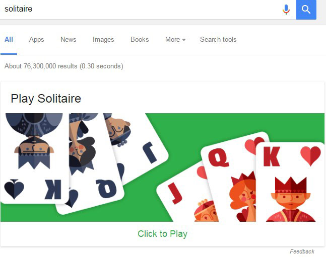 Google Search Results Games: Play Solitaire & Tic-Tac-Toe