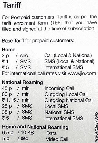 Reliance Jio LYF Smartphone Tarrif