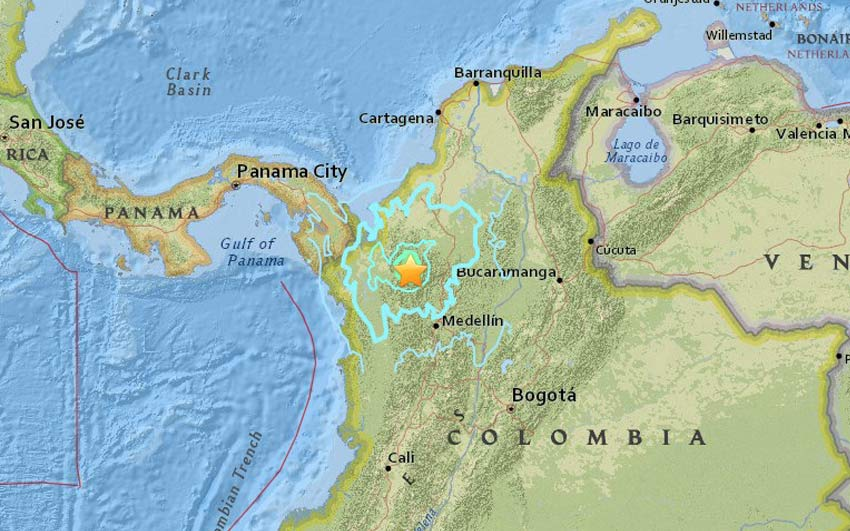 Colombia Earthquake 5.9M quake at northwest of Medellin