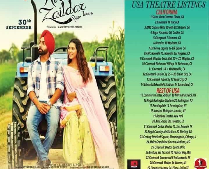 Nikka Zaildar US Theatre List