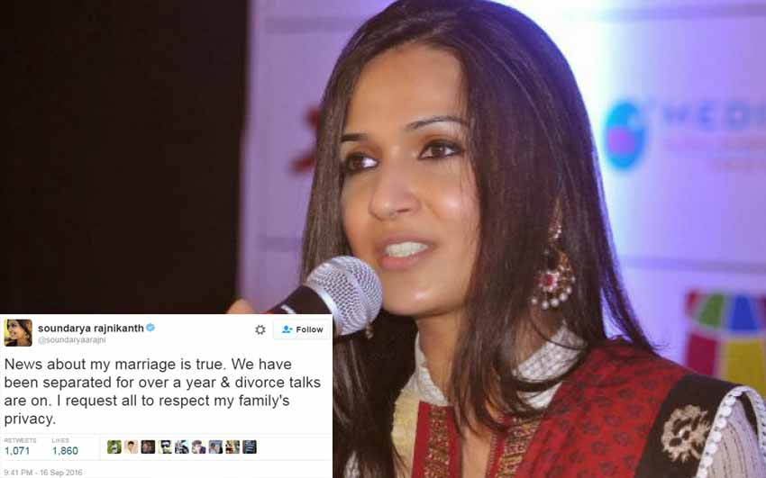 Rajinikanth's daughter Soundarya Divorce Talk is True