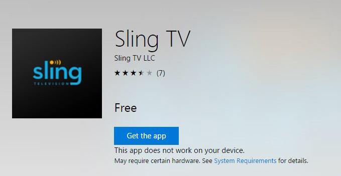Windows 10 Sling TV App