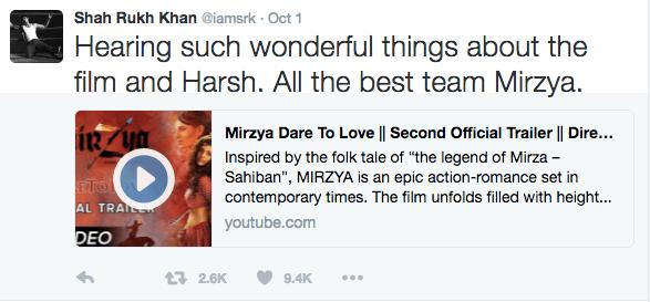 Mirzya Shah Rukh Khan Tweet