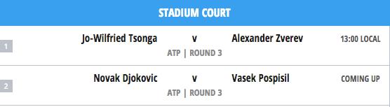 Stadium Court Matches Today