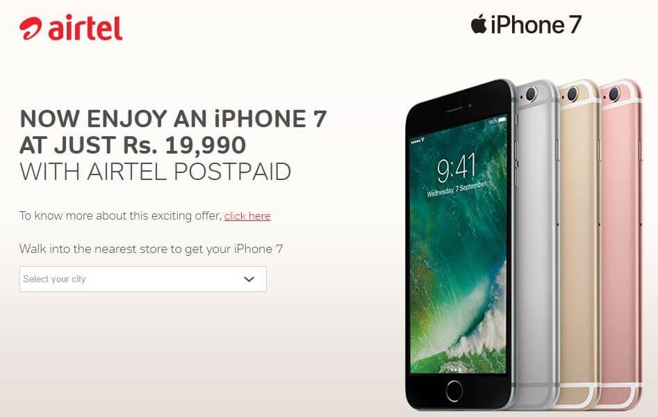 iPhone for Life offer by airtel for iPhone 7