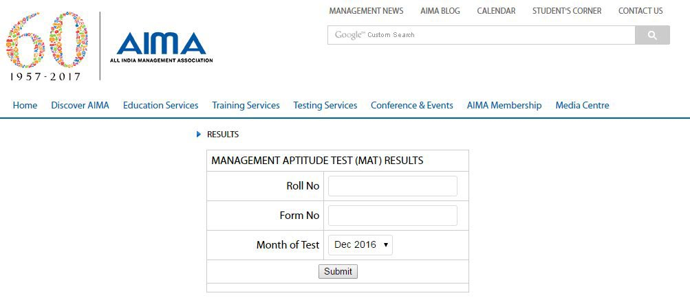 AIMA MAT December 2016 Results Declared For Paper Based And Computer Based Test
