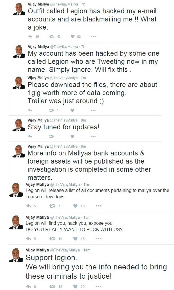 Vijay Mallya's Twitter & e-mail accounts hacked