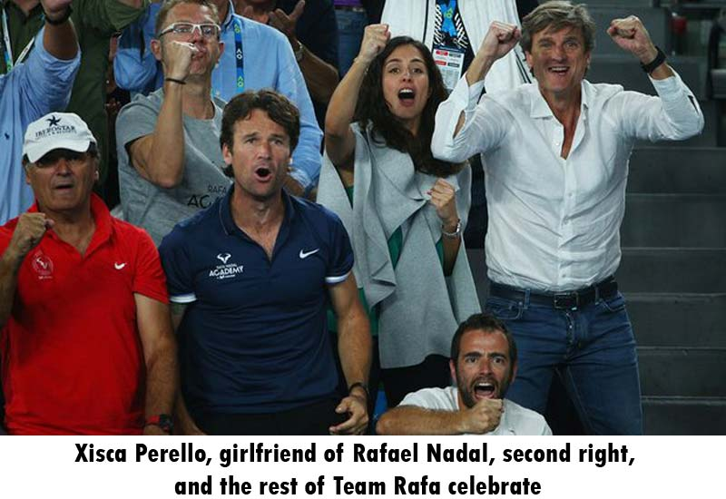 Xisca Perello, girlfriend of Rafael Nadal, second right, and the rest of Team Rafa celebrate