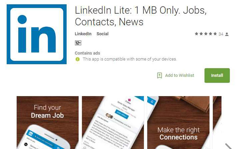 LinkedIn Lite Android App available in India