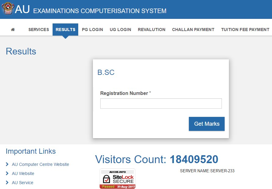 Andhra University BSc 4th Semester Results