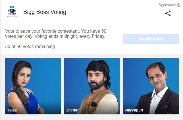 Bigg Boss Vote (Tamil) Week 9