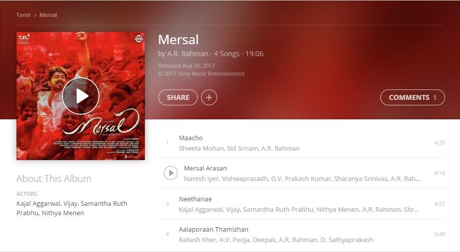 Mersal full album officially released