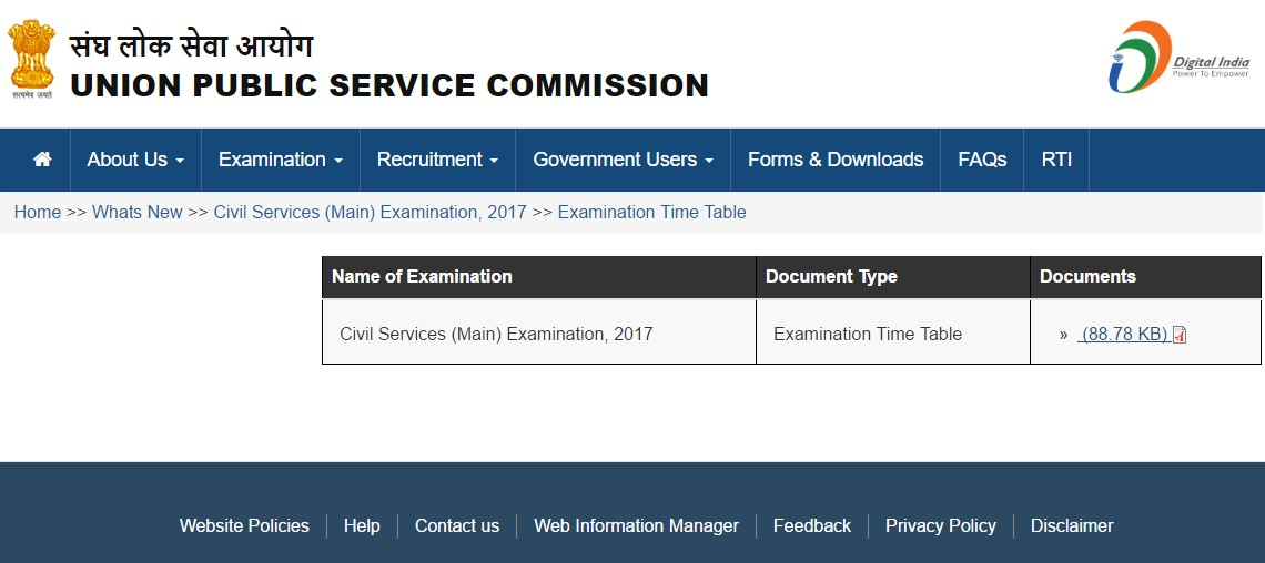 UPSC Mains Time Table 2017 available