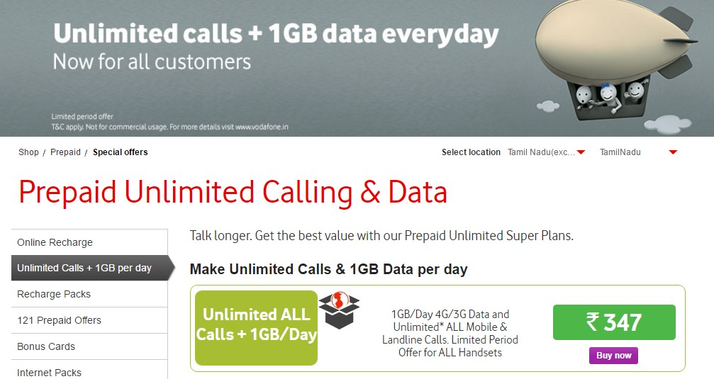 Unlimited Calls & 1GB Data per day