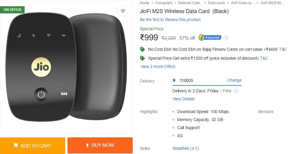 JioFi M2S 4G Hotspot data card at Rs 999