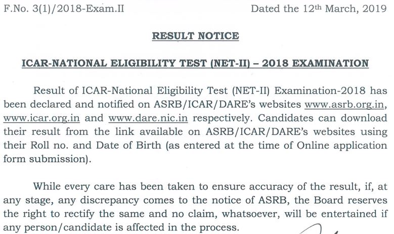 ICAR NET Results on asrb.org.in